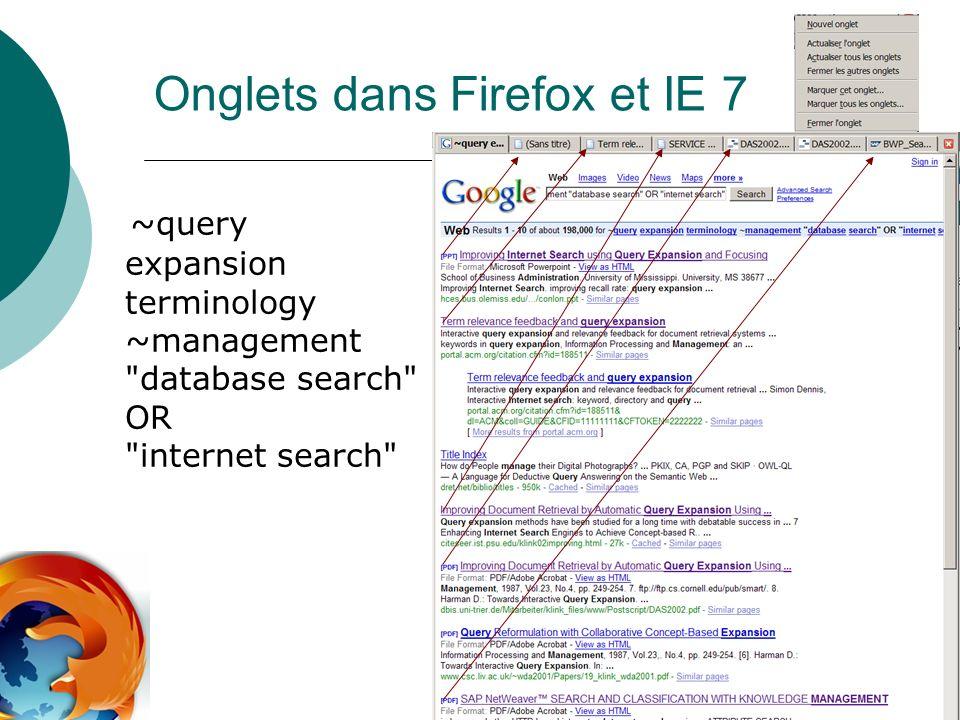 Onglets dans Firefox et IE 7 ~query expansion terminology ~management