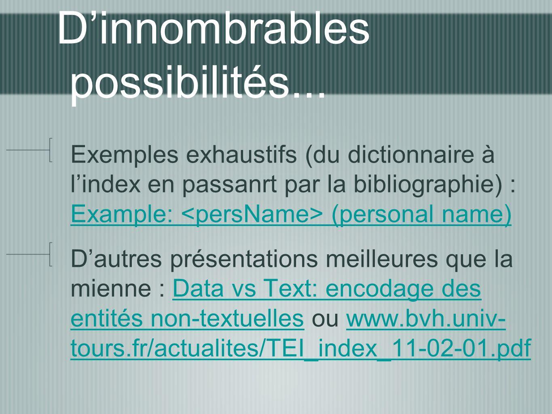 Dinnombrables possibilités... Exemples exhaustifs (du dictionnaire à lindex en passanrt par la bibliographie) : Example: (personal name) Example: (per