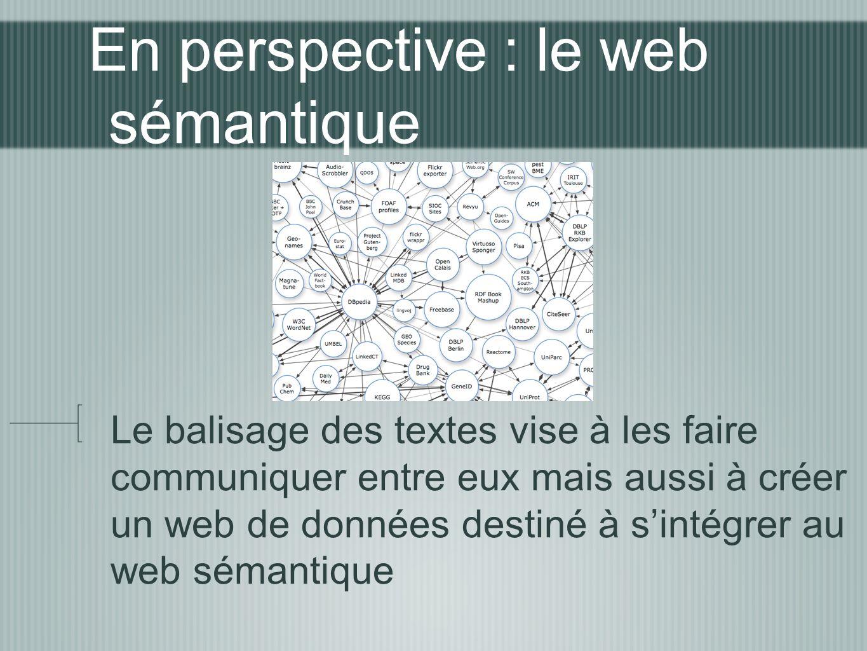 En perspective : le web sémantique Le balisage des textes vise à les faire communiquer entre eux mais aussi à créer un web de données destiné à sintég