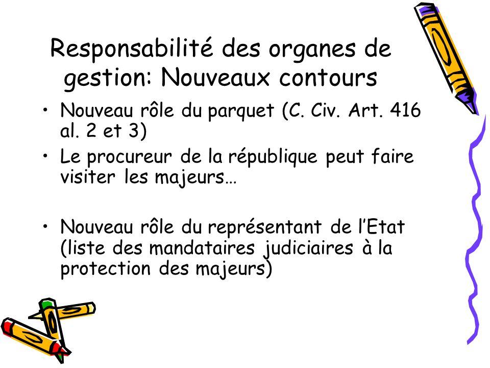 Responsabilité des organes de gestion: Nouveaux contours Nouveau rôle du parquet (C. Civ. Art. 416 al. 2 et 3) Le procureur de la république peut fair