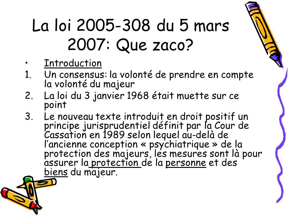 La loi 2005-308 du 5 mars 2007: Que zaco? Introduction 1.Un consensus: la volonté de prendre en compte la volonté du majeur 2.La loi du 3 janvier 1968