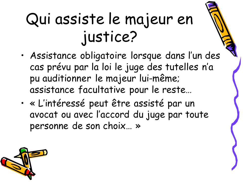 Qui assiste le majeur en justice? Assistance obligatoire lorsque dans lun des cas prévu par la loi le juge des tutelles na pu auditionner le majeur lu