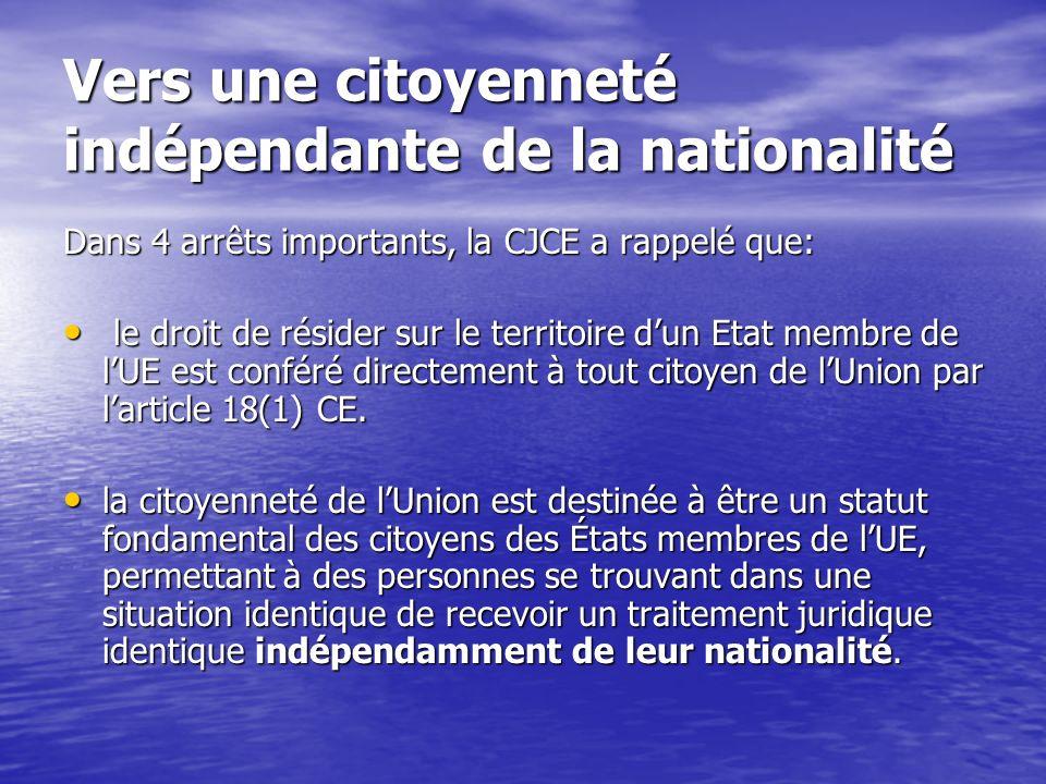 Vers une citoyenneté indépendante de la nationalité Dans 4 arrêts importants, la CJCE a rappelé que: le droit de résider sur le territoire dun Etat membre de lUE est conféré directement à tout citoyen de lUnion par larticle 18(1) CE.