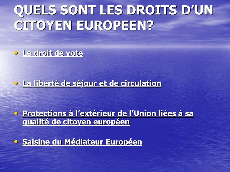 QUELS SONT LES DROITS DUN CITOYEN EUROPEEN.