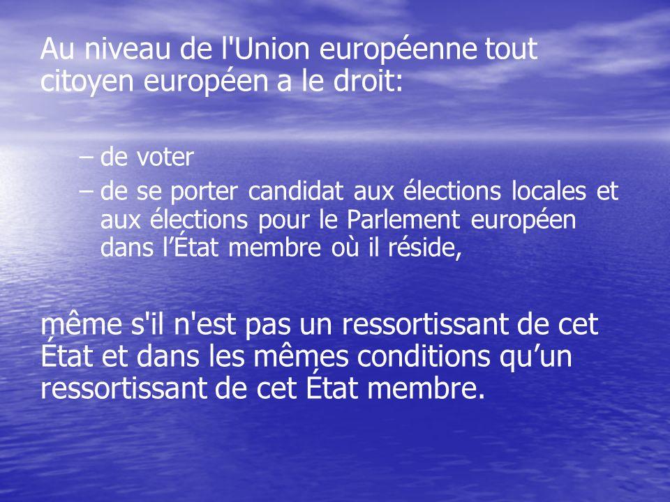 Au niveau de l Union européenne tout citoyen européen a le droit: – –de voter – –de se porter candidat aux élections locales et aux élections pour le Parlement européen dans lÉtat membre où il réside, même s il n est pas un ressortissant de cet État et dans les mêmes conditions quun ressortissant de cet État membre.
