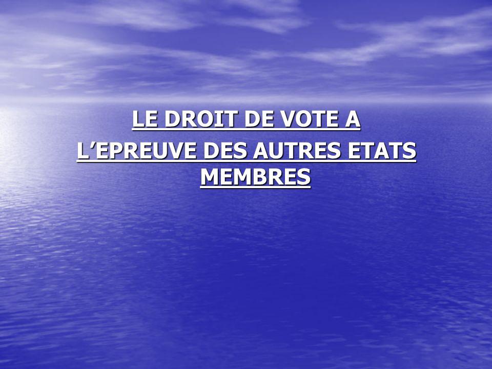 LE DROIT DE VOTE A LEPREUVE DES AUTRES ETATS MEMBRES