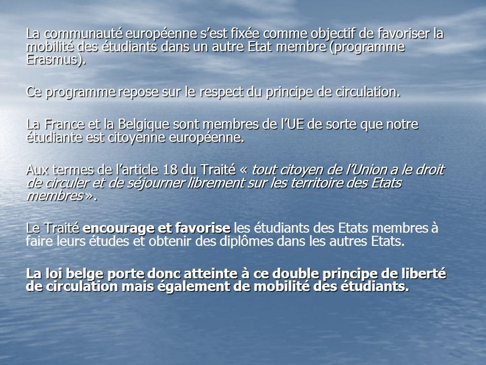 La communauté européenne sest fixée comme objectif de favoriser la mobilité des étudiants dans un autre Etat membre (programme Erasmus).