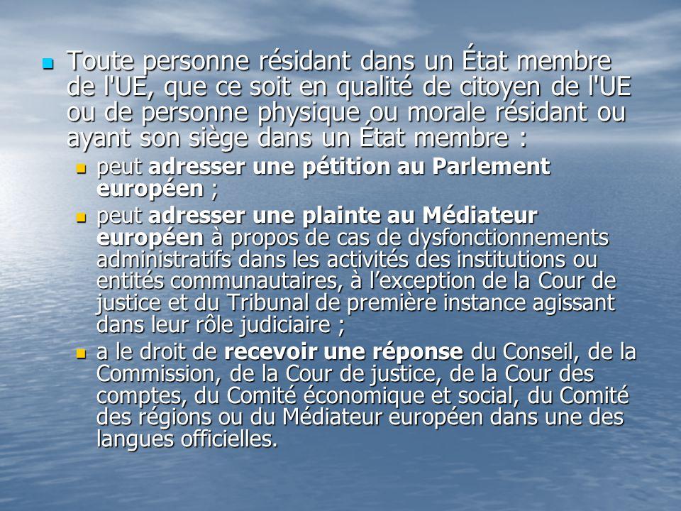 Toute personne résidant dans un État membre de l UE, que ce soit en qualité de citoyen de l UE ou de personne physique ou morale résidant ou ayant son siège dans un État membre : Toute personne résidant dans un État membre de l UE, que ce soit en qualité de citoyen de l UE ou de personne physique ou morale résidant ou ayant son siège dans un État membre : peut adresser une pétition au Parlement européen ; peut adresser une pétition au Parlement européen ; peut adresser une plainte au Médiateur européen à propos de cas de dysfonctionnements administratifs dans les activités des institutions ou entités communautaires, à lexception de la Cour de justice et du Tribunal de première instance agissant dans leur rôle judiciaire ; peut adresser une plainte au Médiateur européen à propos de cas de dysfonctionnements administratifs dans les activités des institutions ou entités communautaires, à lexception de la Cour de justice et du Tribunal de première instance agissant dans leur rôle judiciaire ; a le droit de recevoir une réponse du Conseil, de la Commission, de la Cour de justice, de la Cour des comptes, du Comité économique et social, du Comité des régions ou du Médiateur européen dans une des langues officielles.