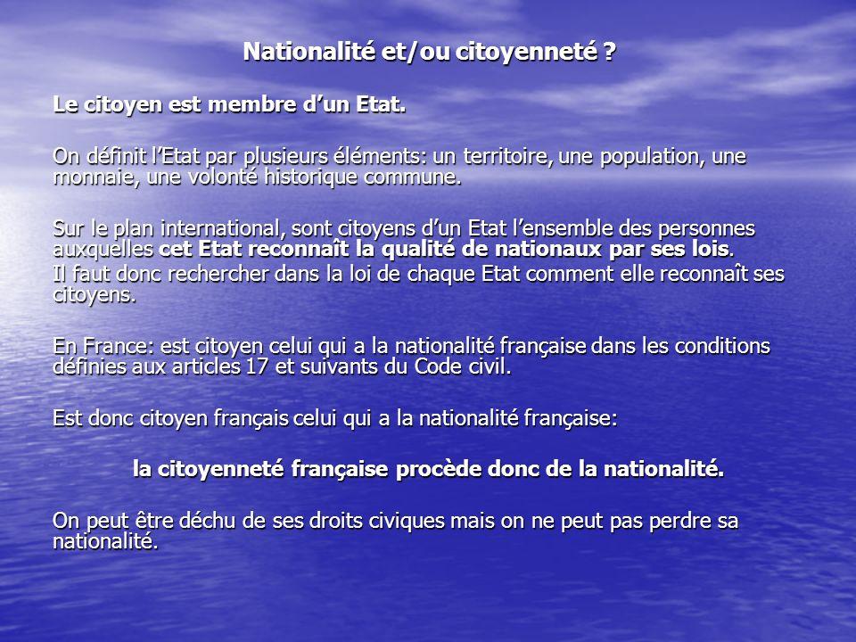 Nationalité et/ou citoyenneté .Le citoyen est membre dun Etat.