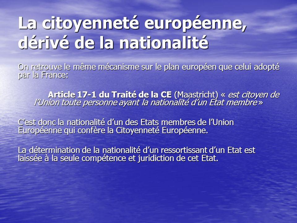 La citoyenneté européenne, dérivé de la nationalité On retrouve le même mécanisme sur le plan européen que celui adopté par la France: Article 17-1 du Traité de la CE (Maastricht) « est citoyen de lUnion toute personne ayant la nationalité dun Etat membre » Cest donc la nationalité dun des Etats membres de lUnion Européenne qui confère la Citoyenneté Européenne.