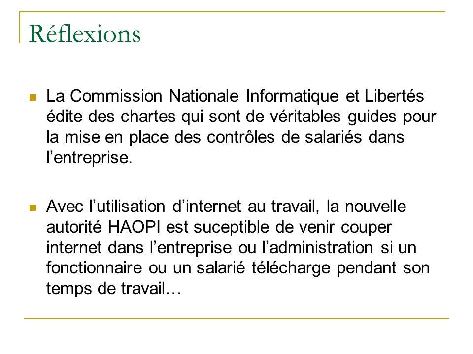 Réflexions La Commission Nationale Informatique et Libertés édite des chartes qui sont de véritables guides pour la mise en place des contrôles de salariés dans lentreprise.