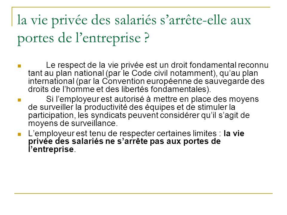 la vie privée des salariés sarrête-elle aux portes de lentreprise ? Le respect de la vie privée est un droit fondamental reconnu tant au plan national