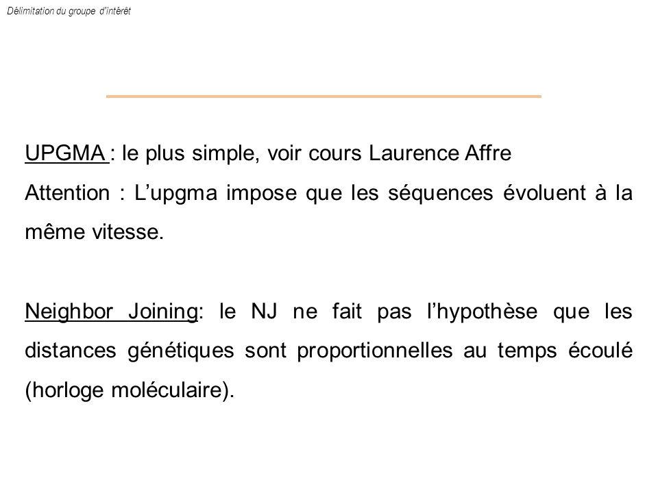 UPGMA : le plus simple, voir cours Laurence Affre Attention : Lupgma impose que les séquences évoluent à la même vitesse. Neighbor Joining: le NJ ne f