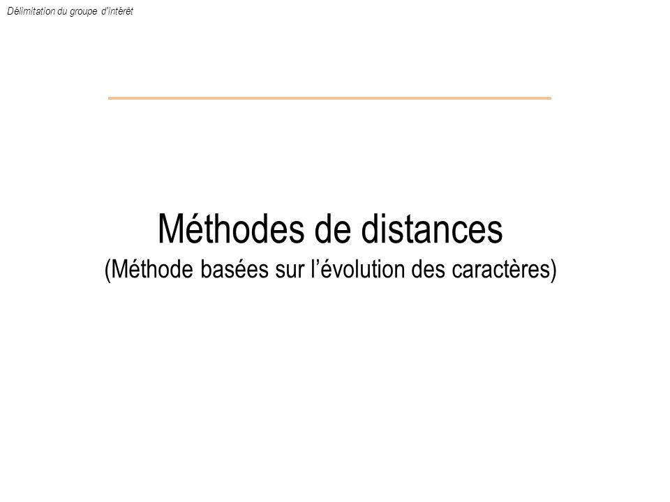 Méthodes de distances (Méthode basées sur lévolution des caractères) Délimitation du groupe d'intérêt