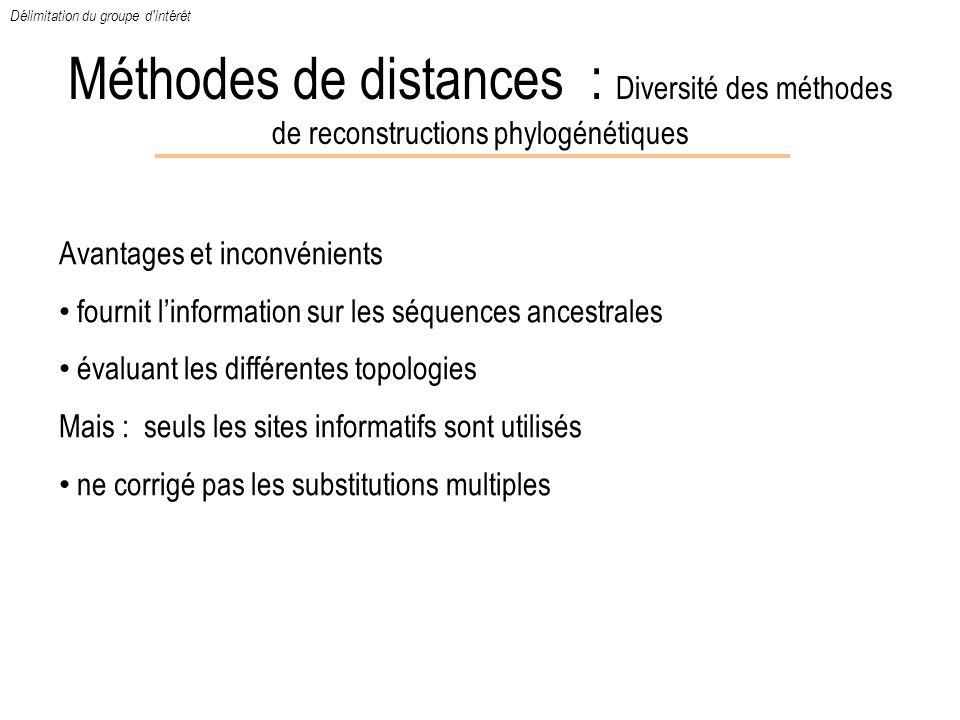 Méthodes de distances : Diversité des méthodes de reconstructions phylogénétiques Avantages et inconvénients fournit linformation sur les séquences an