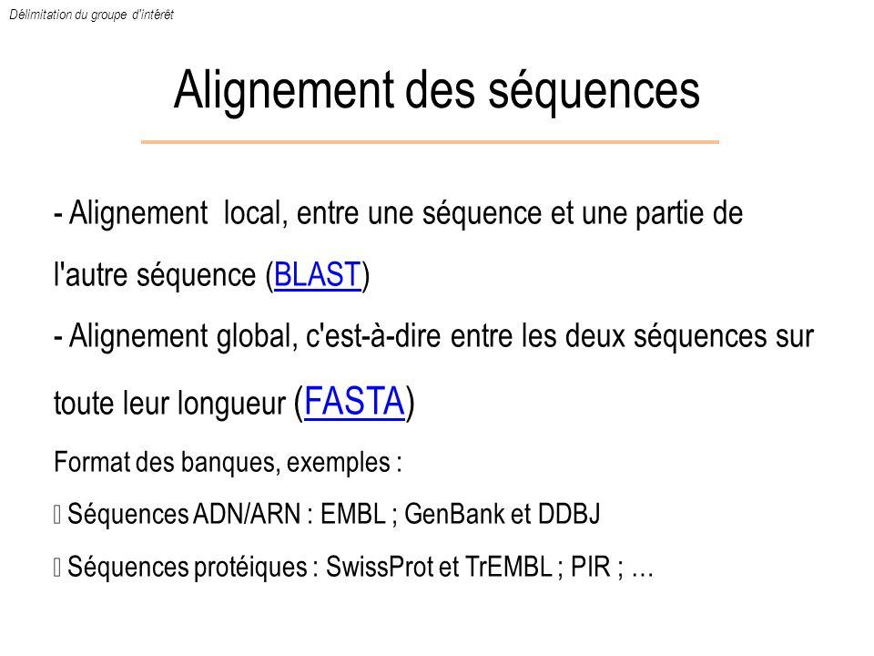 Alignement des séquences - Alignement local, entre une séquence et une partie de l'autre séquence (BLAST)BLAST - Alignement global, c'est-à-dire entre