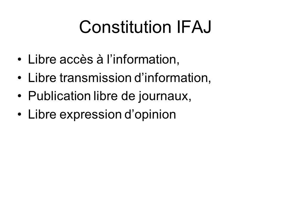 Constitution IFAJ Libre accès à linformation, Libre transmission dinformation, Publication libre de journaux, Libre expression dopinion