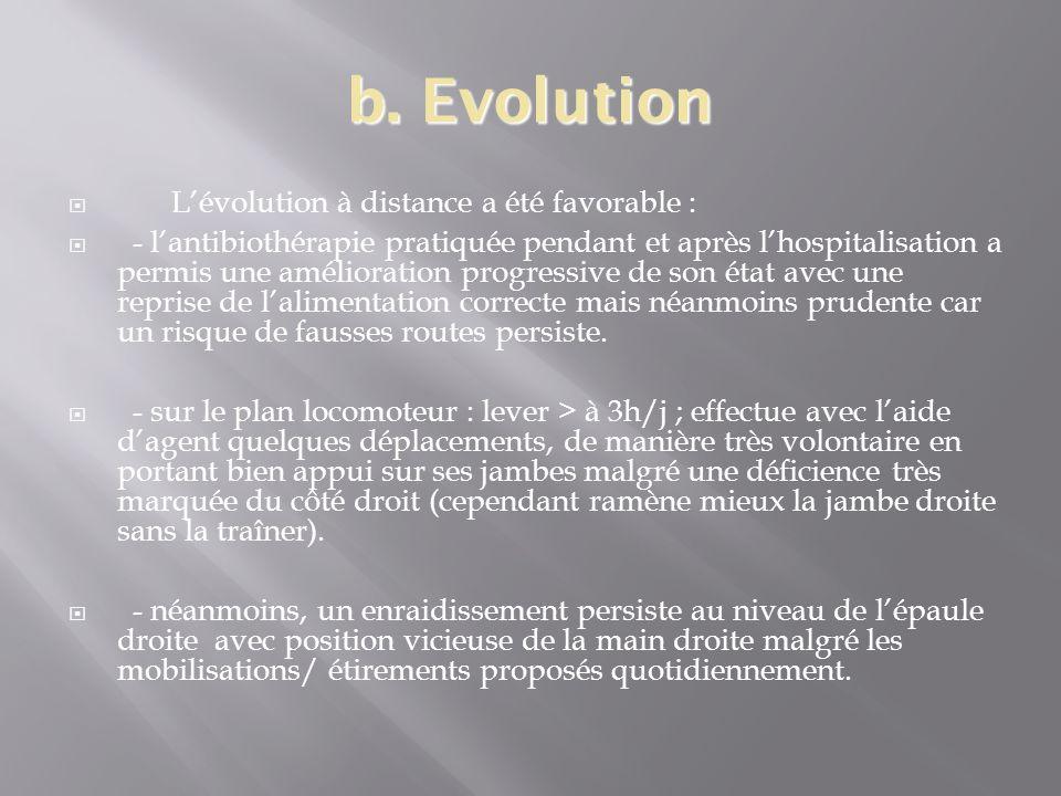 b. Evolution Lévolution à distance a été favorable : - lantibiothérapie pratiquée pendant et après lhospitalisation a permis une amélioration progress