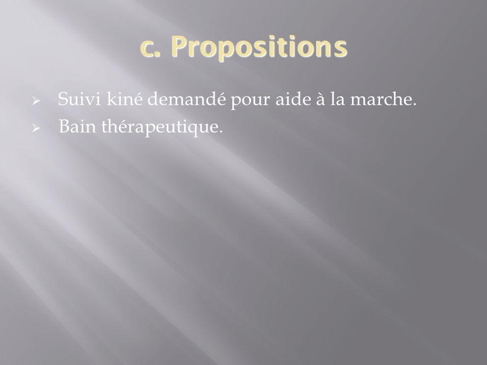 c. Propositions Suivi kiné demandé pour aide à la marche. Bain thérapeutique.