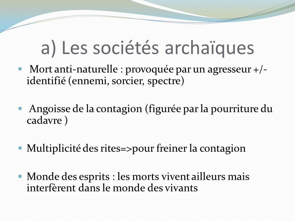 a) Les sociétés archaïques Mort anti-naturelle : provoquée par un agresseur +/- identifié (ennemi, sorcier, spectre) Angoisse de la contagion (figurée