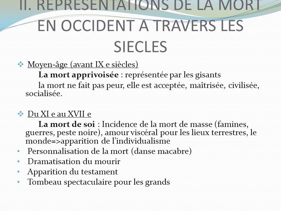 II. REPRESENTATIONS DE LA MORT EN OCCIDENT A TRAVERS LES SIECLES Moyen-âge (avant IX e siècles) La mort apprivoisée : représentée par les gisants la m