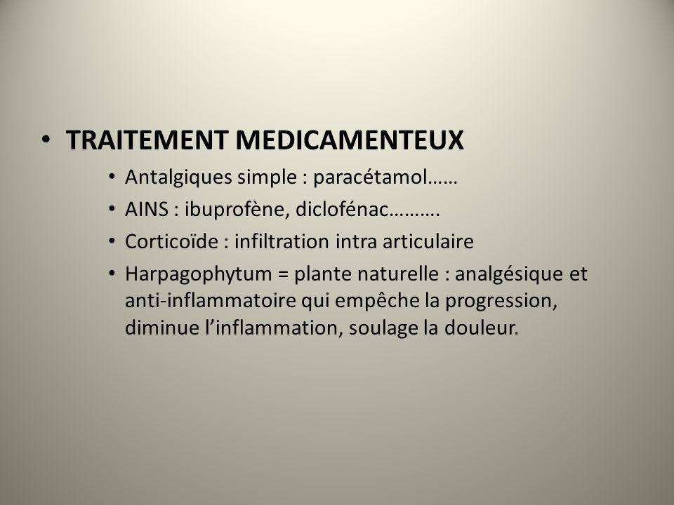 TRAITEMENT MEDICAMENTEUX Antalgiques simple : paracétamol…… AINS : ibuprofène, diclofénac………. Corticoïde : infiltration intra articulaire Harpagophytu