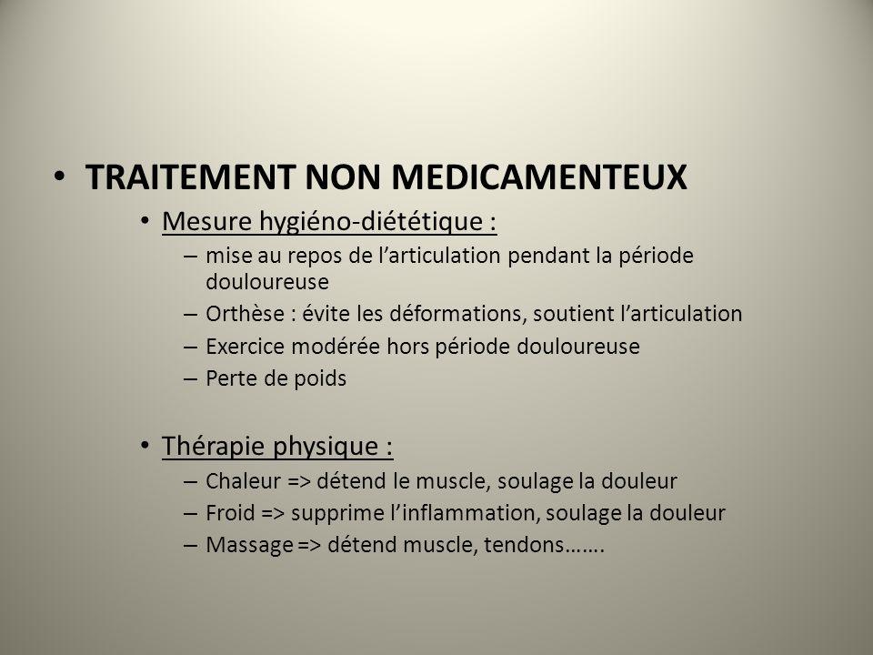 TRAITEMENT NON MEDICAMENTEUX Mesure hygiéno-diététique : – mise au repos de larticulation pendant la période douloureuse – Orthèse : évite les déforma