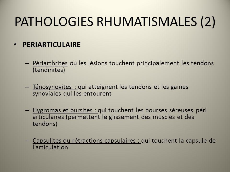 PATHOLOGIES RHUMATISMALES (2) PERIARTICULAIRE – Périarthrites où les lésions touchent principalement les tendons (tendinites) – Ténosynovites : qui at