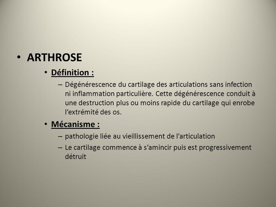ARTHROSE Définition : – Dégénérescence du cartilage des articulations sans infection ni inflammation particulière. Cette dégénérescence conduit à une