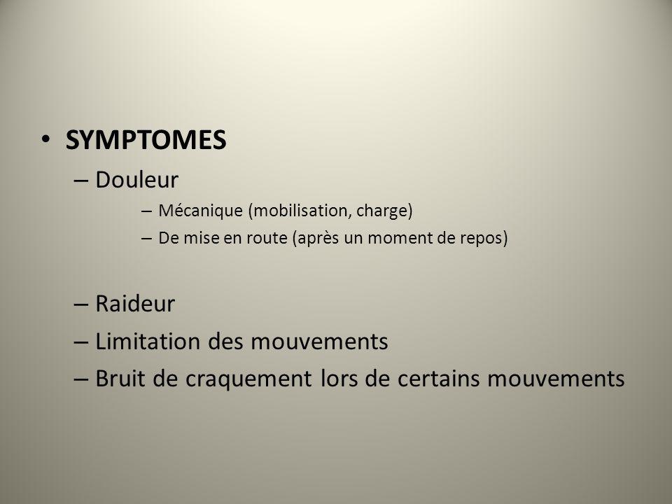 SYMPTOMES – Douleur – Mécanique (mobilisation, charge) – De mise en route (après un moment de repos) – Raideur – Limitation des mouvements – Bruit de