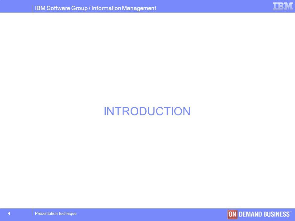 IBM Software Group / Information Management © 2004 IBM Corporation 55Présentation technique Bêta tests Performance : Des tests ont permis de comparer les performances IDS 10.0 par rapport à la version IDS 9.40UC4 Lors de la sortie de la v9.4, les béta tests de lépoque ont montré une nette progression en terme de performance par rapport à IDS v7.31 Dbimport : nous avons effectués limport dune base de 10GB IDS Version Page Size of duration DS_NONPDQ_QERY_MEM the data chunk ------------------------------------------------------------------------ 9.40UC4W1 2k 8:45hdefault 10.0UC1B3 8k 7:49h16384k >DS_NONPDQ_QUERY_MEM variable utilisée dans un environnement non PDQ qui permet daccélérer la création des indexes lors du dbimport.