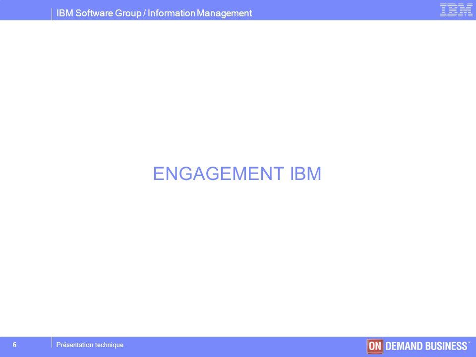 IBM Software Group / Information Management © 2004 IBM Corporation 27Présentation technique Buffers Pools Onparams –Création des buffers pools –Spécification des buffers Onparams –b –g pgsize –n buffs –r lrus –x max –m min – pgsize: taille de la page (Ko) – buffs: nombre de buffers – lrus: nombre de LRU – max: max %dirty pages – min: min %dirty pages –BUFFERS_DEF Nombre de page du buffer pool par défaut en création automatique