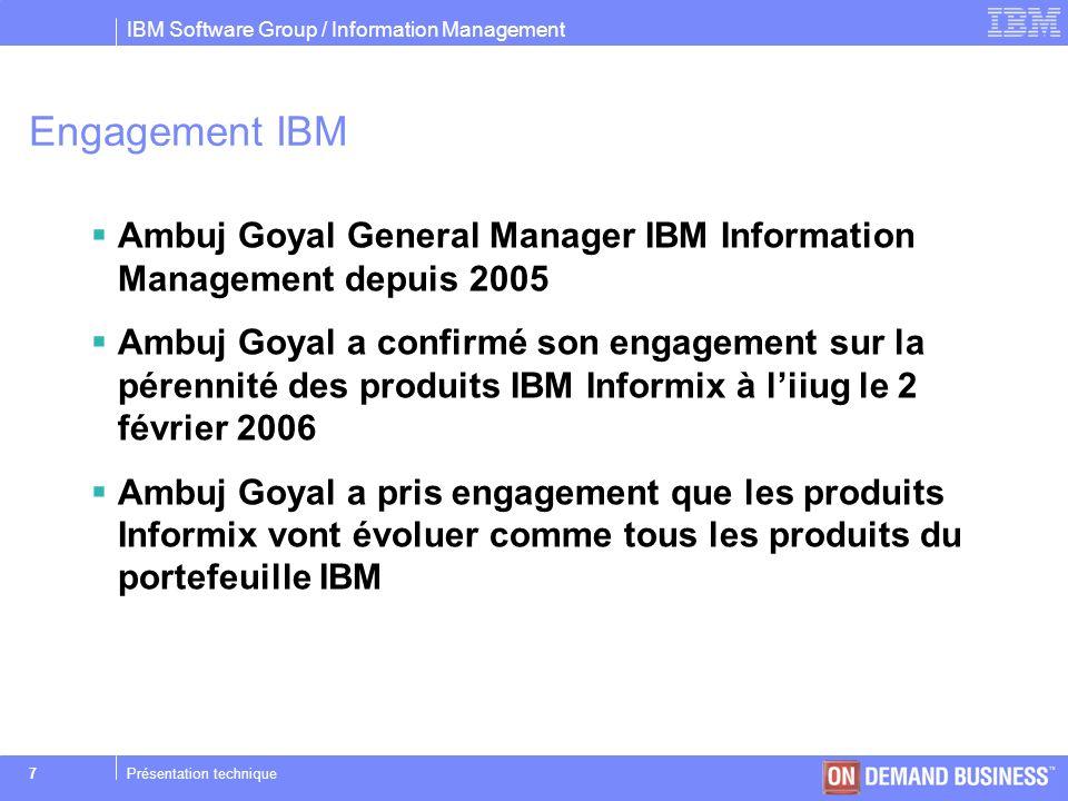 IBM Software Group / Information Management © 2004 IBM Corporation 38Présentation technique HDR, Transfert des index Replication manuelle –$ onmode –d index Replication automatique –DRIDXAUTO { 0 | 1 } –onmode –d idxauto { ON | OFF }