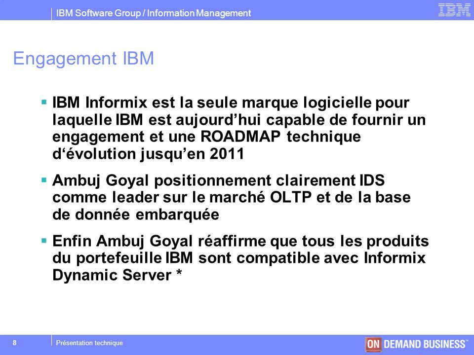 IBM Software Group / Information Management © 2004 IBM Corporation 29Présentation technique Single-user mode Objectifs –Permettre lexécution de script SQL dans un mode mono-utilisateur.