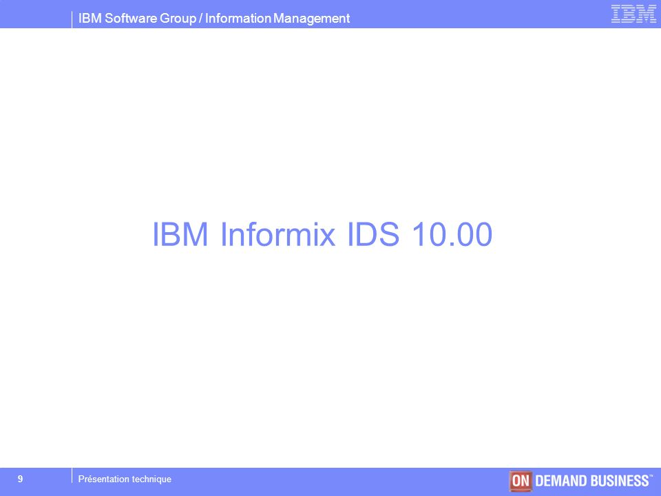 IBM Software Group / Information Management © 2004 IBM Corporation 50Présentation technique ENCRYPTAGE des données Objectif : –Protéger les informations confidentielles stockées avec IDS Algorithmes dencryptage : –IDS permet simplement lutilisation dalgorithmes de type : Triple-DES (1990 : Triple Data Encryption Standard) AES (1997 : Advanced Encryption Standard) pour un stockage au format BASE64 (appelé aussi Radix-64) Données visées : –Tous les types CHAR,NCHAR,VARCHAR,NVARCHAR, LVARCHAR, BLOB et CLOB