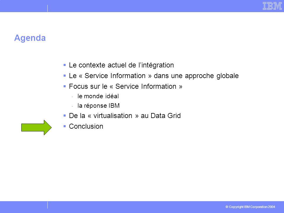 © Copyright IBM Corporation 2004 Le contexte actuel de lintégration Le « Service Information » dans une approche globale Focus sur le « Service Inform