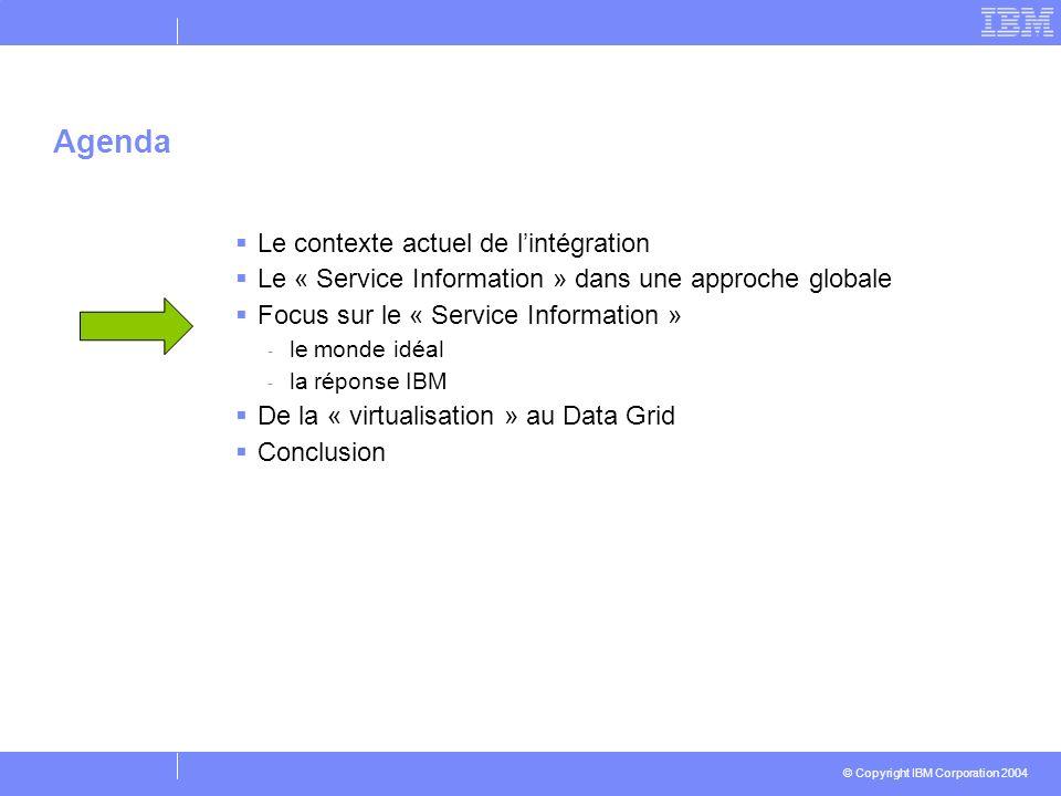 © Copyright IBM Corporation 2004 Agenda Le contexte actuel de lintégration Le « Service Information » dans une approche globale Focus sur le « Service