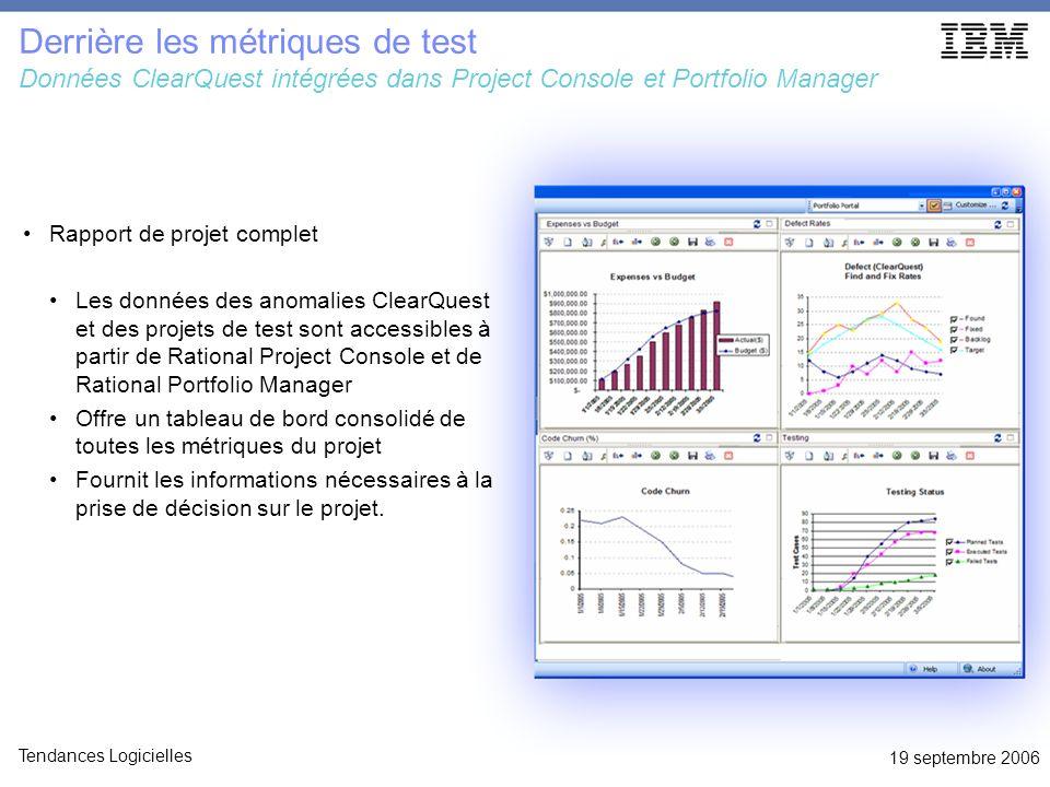 19 septembre 2006 Tendances Logicielles Derrière les métriques de test Données ClearQuest intégrées dans Project Console et Portfolio Manager Rapport