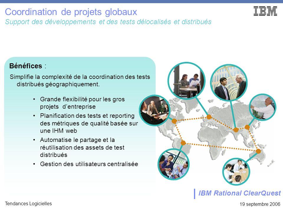 19 septembre 2006 Tendances Logicielles Coordination de projets globaux Support des développements et des tests délocalisés et distribués Grande flexi