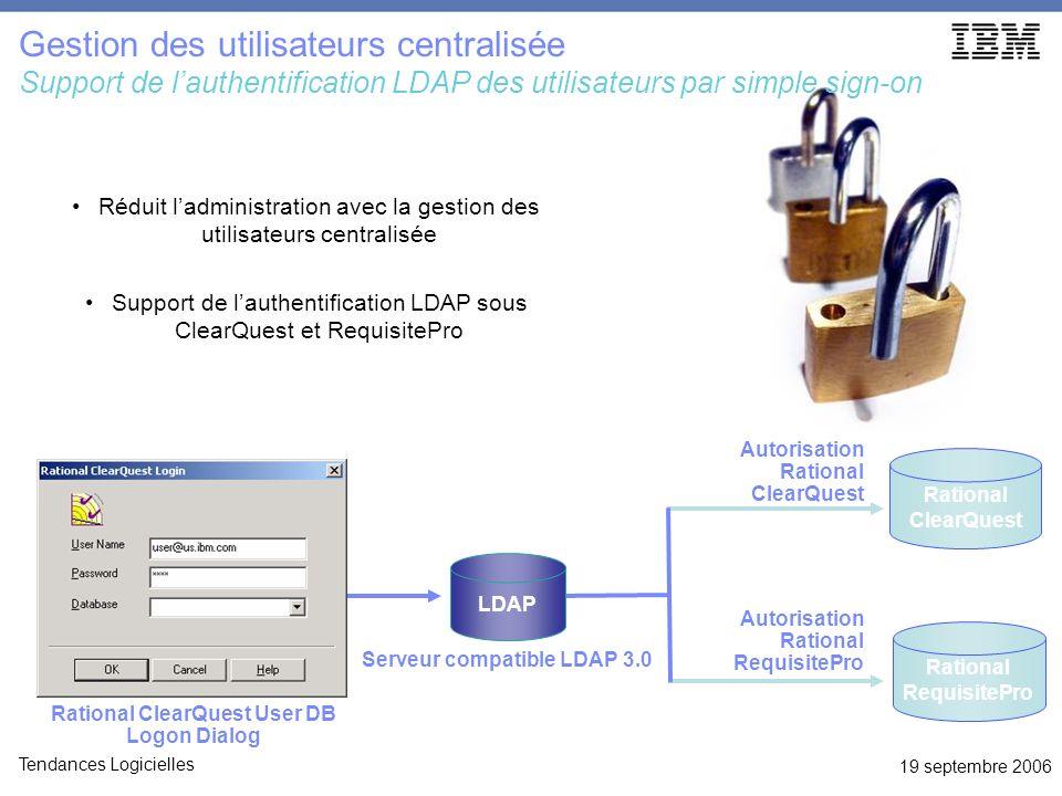 19 septembre 2006 Tendances Logicielles Réduit ladministration avec la gestion des utilisateurs centralisée Support de lauthentification LDAP sous Cle