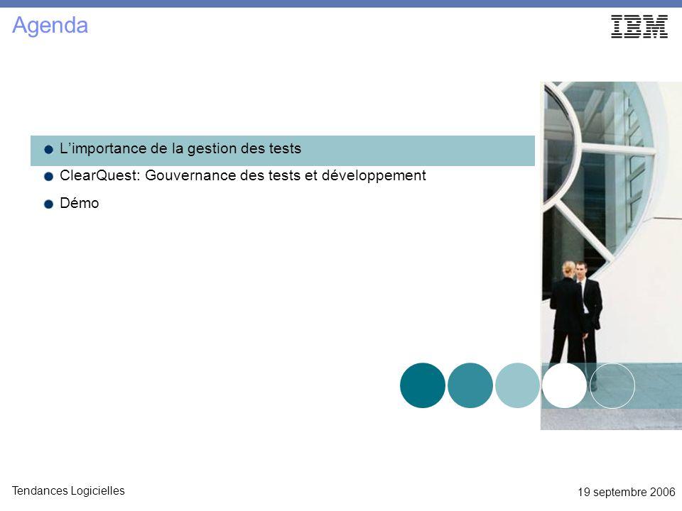 19 septembre 2006 Tendances Logicielles Agenda Limportance de la gestion des tests ClearQuest: Gouvernance des tests et développement Démo