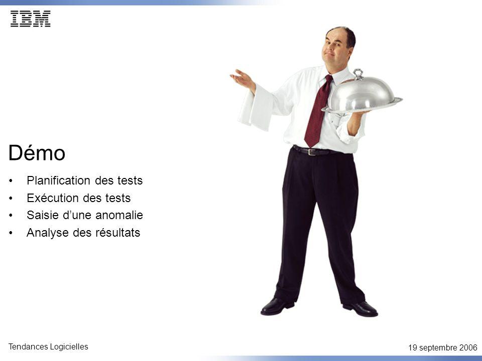 19 septembre 2006 Tendances Logicielles Démo Planification des tests Exécution des tests Saisie dune anomalie Analyse des résultats