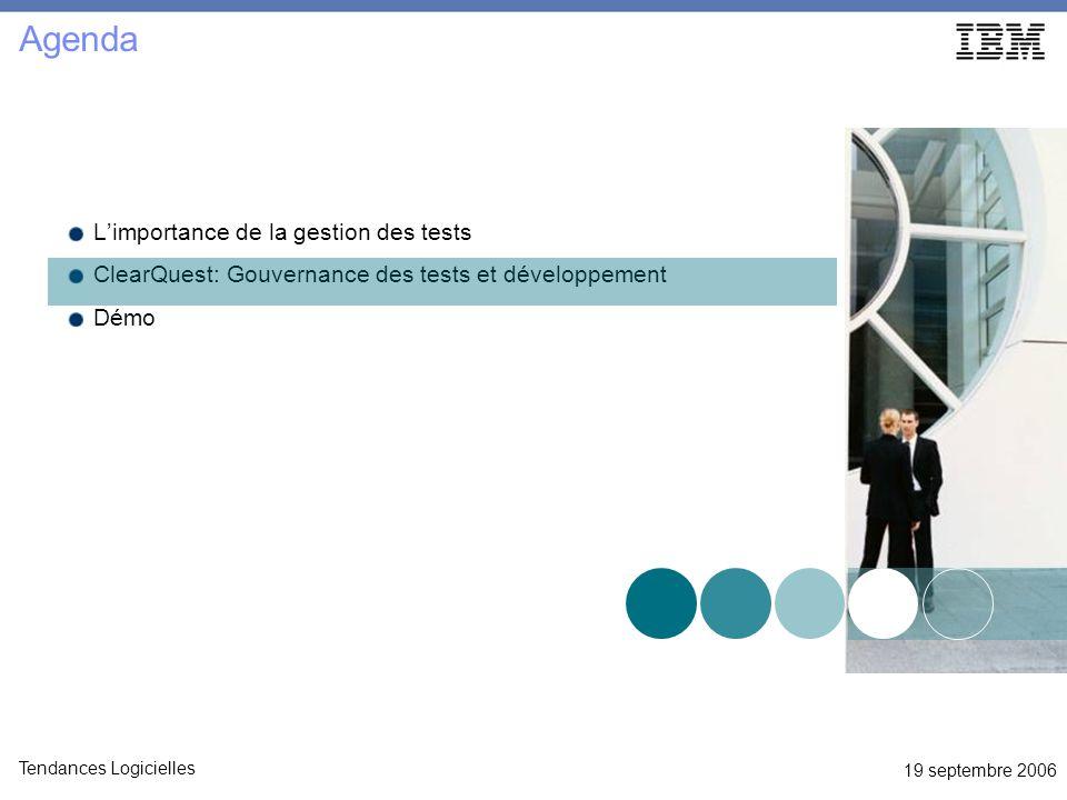 19 septembre 2006 Tendances Logicielles Limportance de la gestion des tests ClearQuest: Gouvernance des tests et développement Démo Agenda