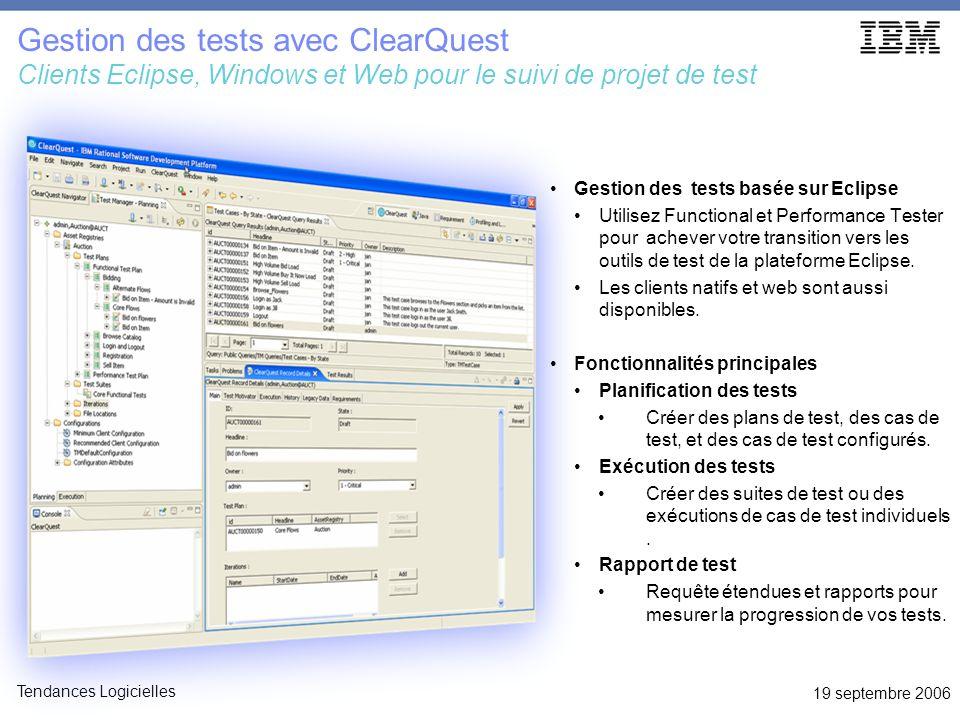 19 septembre 2006 Tendances Logicielles ClearQuest: Gouvernance des tests et développement IBM Rational ClearQuest Vue unique sur le projet Coordination de projet de test global Processus configurable Écosystème de test extensible Test Changement Anomalies