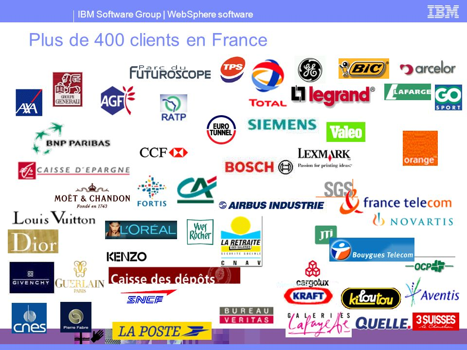 IBM Software Group | WebSphere software Plus de 400 clients en France