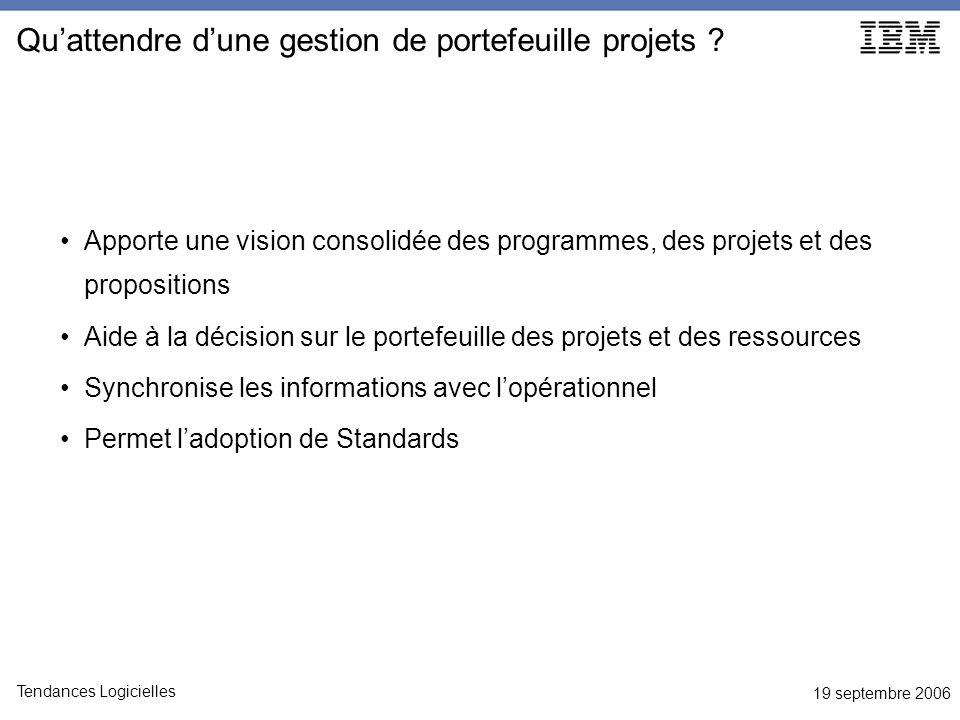 19 septembre 2006 Tendances Logicielles Quattendre dune gestion de portefeuille projets ? Apporte une vision consolidée des programmes, des projets et