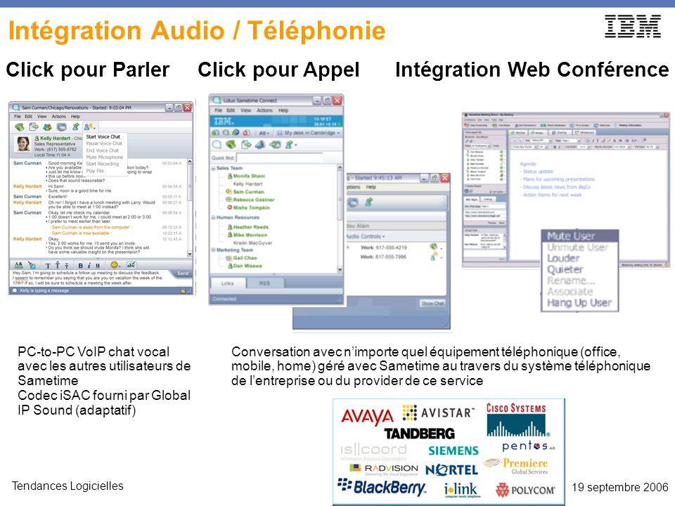 19 septembre 2006 Tendances Logicielles Intégration Audio / Téléphonie Click pour Parler Click pour Appel Intégration Web Conférence Conversation avec nimporte quel équipement téléphonique (office, mobile, home) géré avec Sametime au travers du système téléphonique de lentreprise ou du provider de ce service PC-to-PC VoIP chat vocal avec les autres utilisateurs de Sametime Codec iSAC fourni par Global IP Sound (adaptatif)