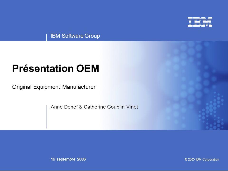 Business Unit or Product Name Presentation Title | Presentation Subtitle | Confidential © 2005 IBM Corporation 2 Quest-ce-que lOEM .