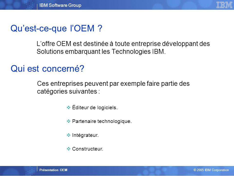 Business Unit or Product Name Presentation Title | Presentation Subtitle | Confidential © 2005 IBM Corporation 2 Quest-ce-que lOEM ? Loffre OEM est de