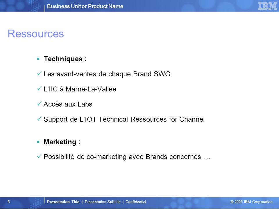 Business Unit or Product Name Presentation Title | Presentation Subtitle | Confidential © 2005 IBM Corporation 5 Ressources Techniques : Les avant-ven
